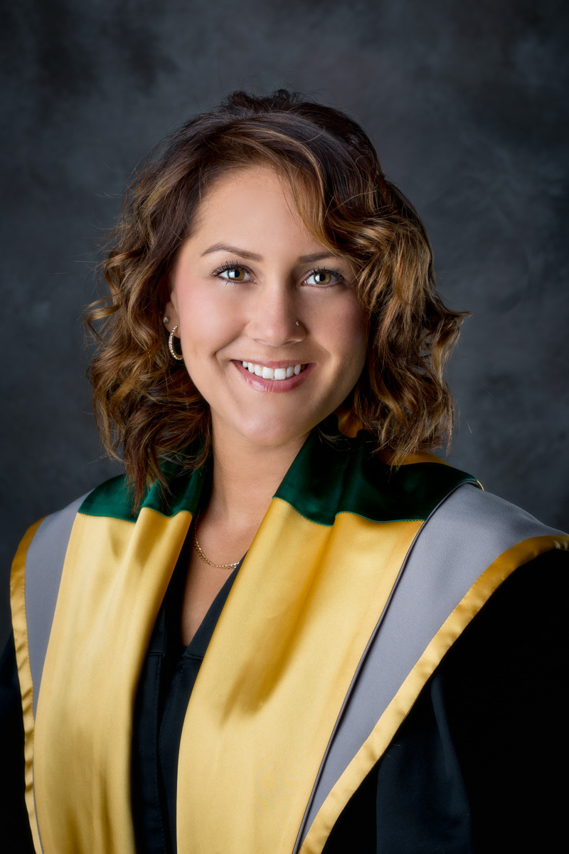 Female in graduation gown